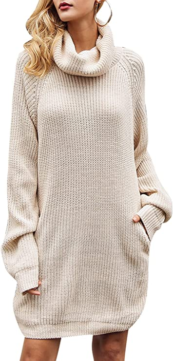 BerryGo Women's Loose Turtleneck Knit Long Pullover Sweater Dress Cute Sweater dresses for women