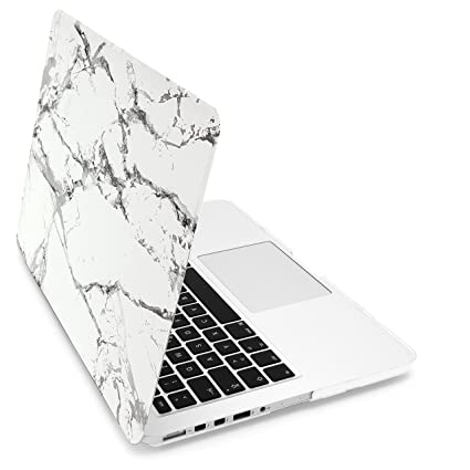 Mygadget Coque Marbre Pour Apple Macbook Pro Retina 13 A1502 A1425 Mac 2012 A Av 2016 Case Marble Rigide Slim Hardshell Cover Blanc