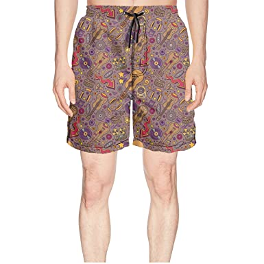 3a541d2da9 Amazon.com: Cartoon Guitar Musical Instruments Designer Swim Trunks for Men  Beach Swim Shorts Boardshorts: Clothing