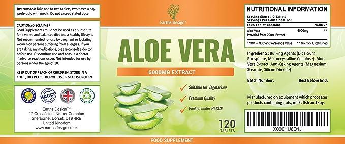 Aloe Vera - Pastillas de Aloe 6000mg - Suplemento de Máxima Concentración - Para Hombres y Mujeres - Obtén el DOBLE de Cápsulas - Apto Vegetarianos - ...