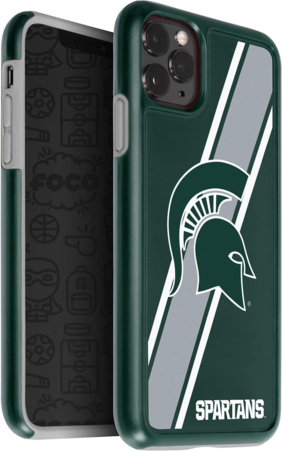 FOCO NCAA Michigan State Spartans Unisex iPhone 11 MAX Pro 6.5 Inch Screen Only Dual Hybrid Impact Licensed Case, Team Color, One Size