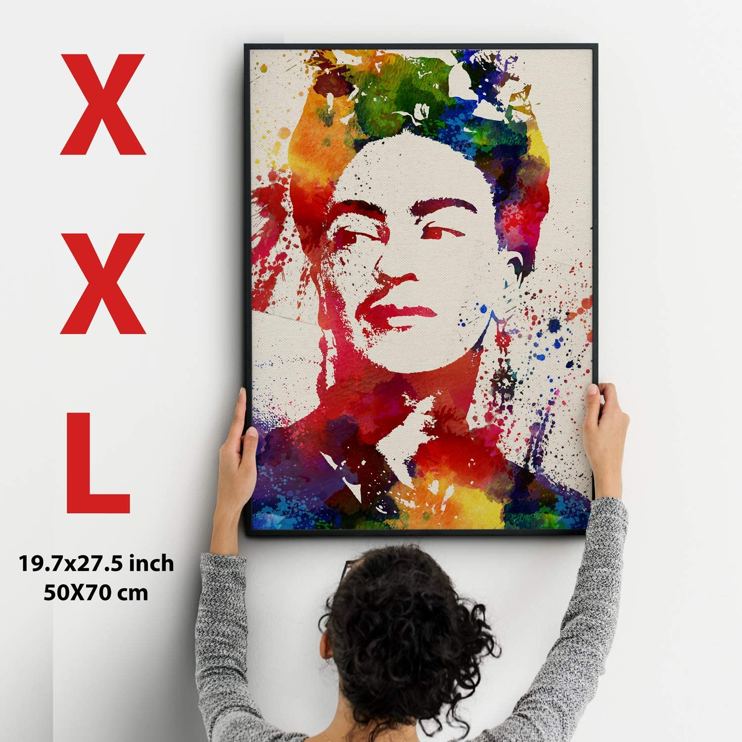 Print for framing Frida Kahlo Style Watercolour. XXL Poster size 50 x 70 cm. Nacnic Prints Frida Kahlo Mexican painter.Mexican wall decor, Aztec art , Chicano art - Set of 1 - Unframed 11x17 inch Size - 250g Paper - Beautiful Poster Painting for Home Office Living Room