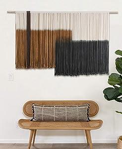 Macrame Wall Hanging Large Dip Dye Tapestry Fiber Wall Art Boho Bedroom Decor