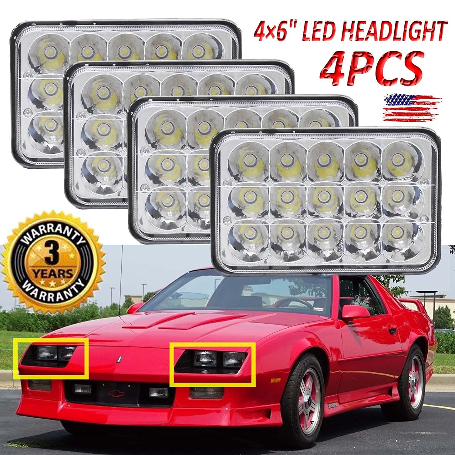 4x6 Rectangular Led Headlight For Chevrolet Chevy Camaro 1972 Cadillac Eldorado Wiring Diagram Plug Modification May Be Required 4pcs Super Power Bright Sealed High Low