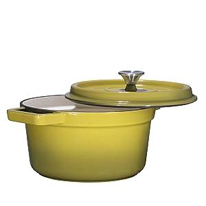 Bruntmor, Enameled Cast Iron Dutch Oven Casserole Dish 6.5 quart Large Loop Handles & Self-Basting Condensation Ridges On Lid (Olive Green)