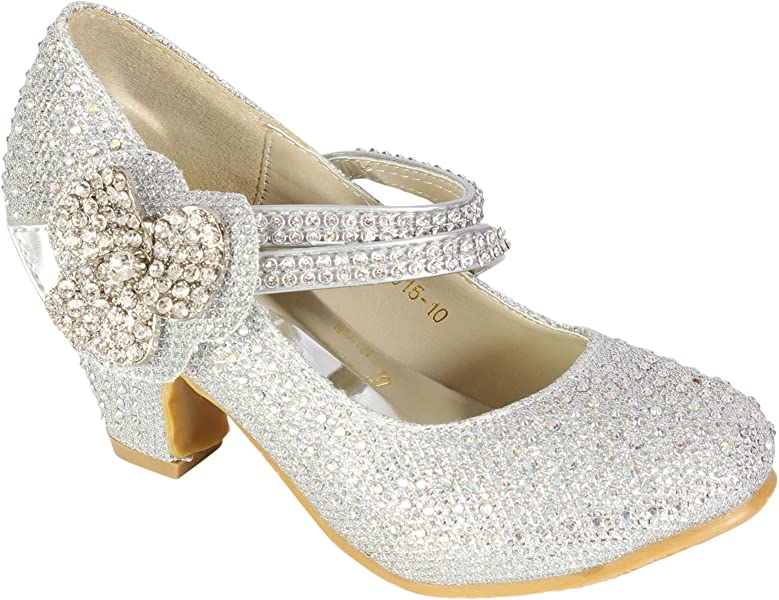 Girls Wedding Shoes Kids Children Bridesmaid Prom Diamante Starppy