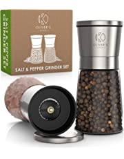 Oliver's Kitchen - Salt & Pepper Mill Set - Ceramic Grinder for Adjustable Coarseness - Glass Body & Complimentary Stand for a Tidier Kitchen - Brushed Stainless Steel Salt and Pepper Set