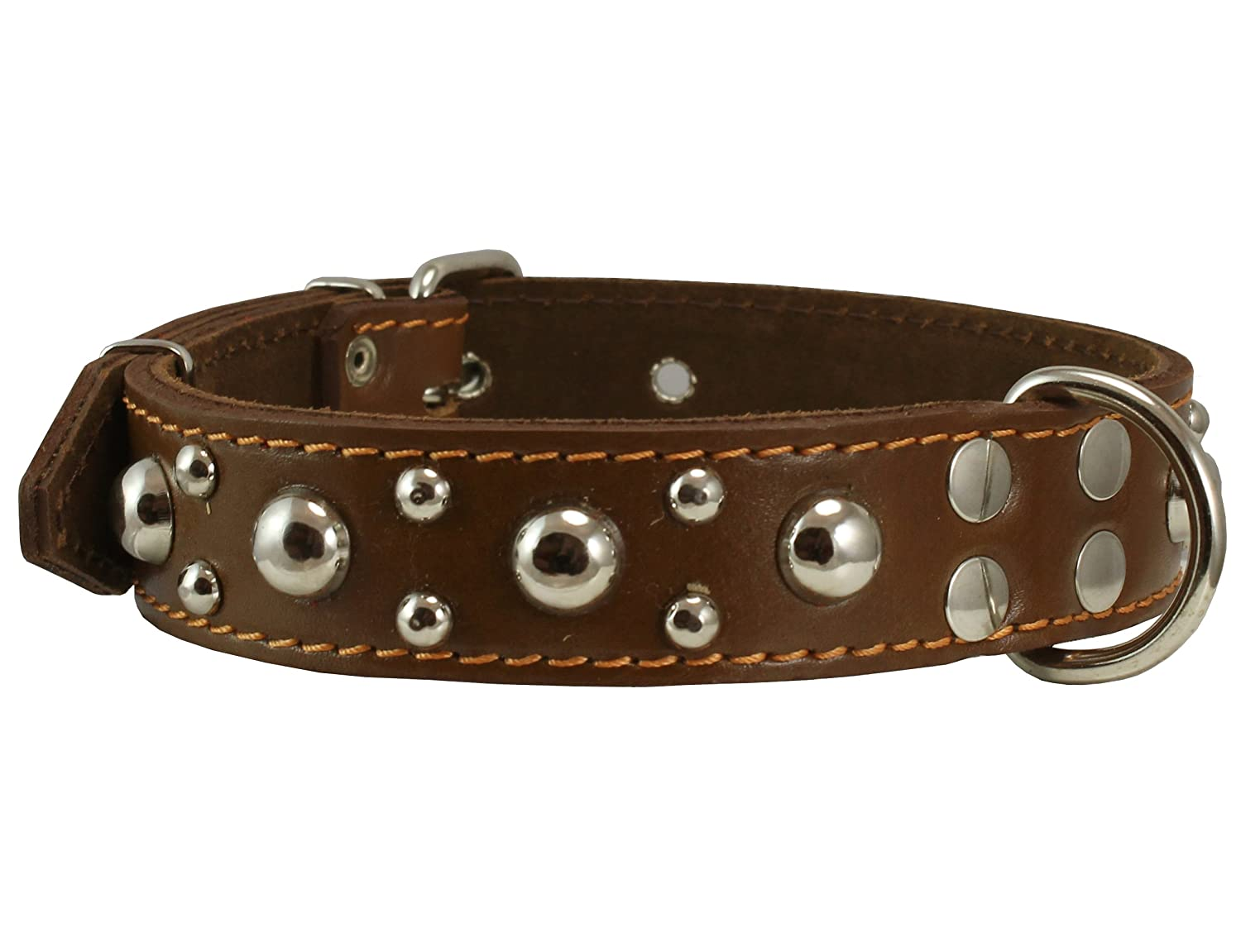 Genuine 1.5 Wide Thick Leather Studded Dog Collar. Fits 17-21.5 Neck Large Breeds.