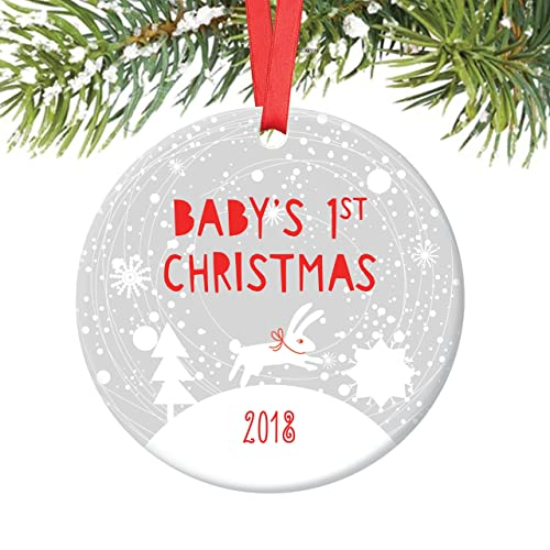 bunny babys 1st christmas ornament 2018 winter rabbit babys first christmas baby boy 3quot