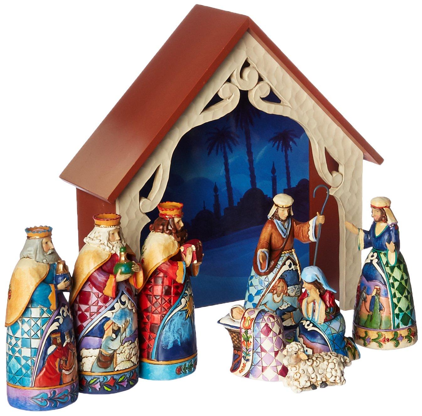 "Jim Shore Heartwood Creek 9-Piece Mini Nativity Set Stone Resin Figurine, 9.75"" by Jim Shore for Enesco (Image #1)"