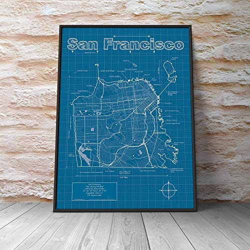 Amazon Com San Francisco California Map Blueprint Style Handmade