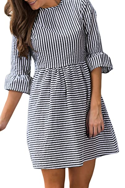 514098d898e Women s Summer Casual Stripe Flounce 3 4 Flounce Sleeve Round Neck  Seersucker Babydoll With Bell Sleeves Dress at Amazon Women s Clothing  store
