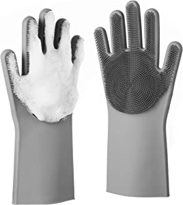 Silicone Dishwashing Gloves - Reusable & Heat Resistant Cleaning Rubber Mittens with Scrubber for Washing Dishes, Fruits, Vegetables | Suitable for Kitchen, Car, Bathroom & Pet Grooming (Gray)
