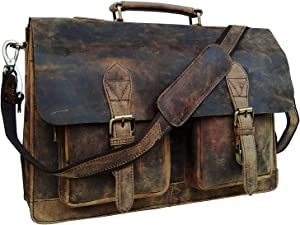 Cuero Retro Buffalo Hunter Leather Laptop Messenger Bag Office Briefcase Travel Bag (Rich Brown)