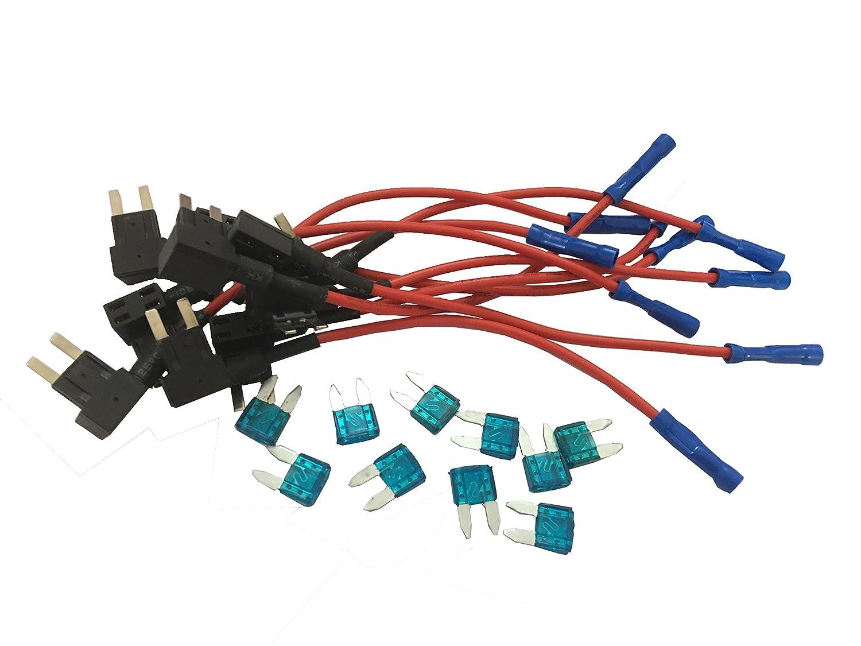 KOLACEN Automobile Camion De Voiture 5 Pi/èces 16 AWG Fusible Add-a-circuit Adaptateur TAP pour Mini Type De Fusible Fusible 5 Pi/èces 15Apm Mini Fusible