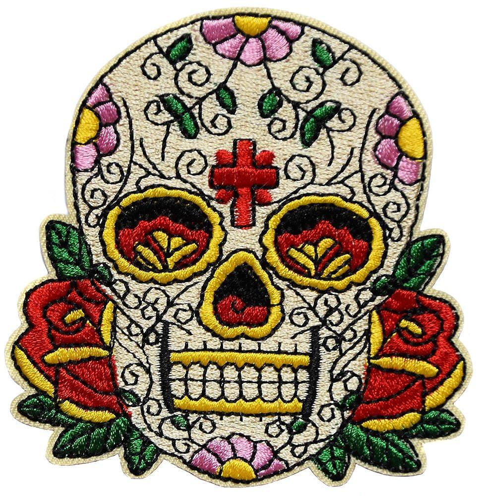 topt rasta Tete de Mort Crane Mexicain Rose Croix Sugar brod/é Imprim/és Thermocollants Broderie Vetement Ecusson 8x8,5cm