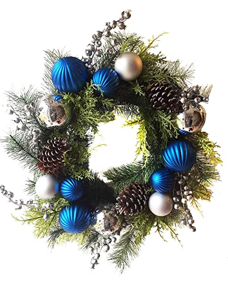 Silver Christmas Wreath.Blue And Silver Christmas Wreath For Front Door Quality Plastic Mercury Glass Ornaments Pine Cones Faux Berries Premium Pine Branches Cedar Greens