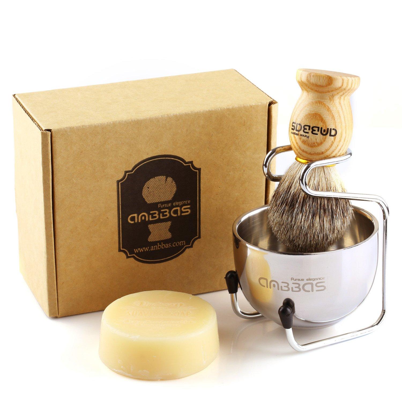Anbbas - Juego de afeitado, brocha manual con mango de madera de Fraxinus Mandschurica y bol de afeitado de acero inoxidable y soporte para la cuchilla de afeitar de hombre. B0772K2MN4