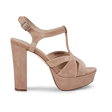 Damen Schuhe Sandalen Pumps High Heels Plateau Riemchen Sandaletten Braun Beige
