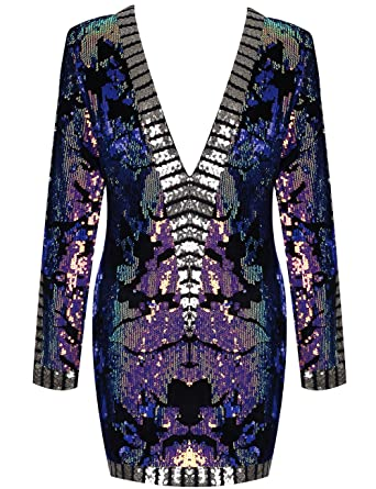 Maketina Women Bodycon V Neck Long Sleeve Sequin Glitter Cocktail Party  Club Evening Mini Dress Colorful 559cdbd21