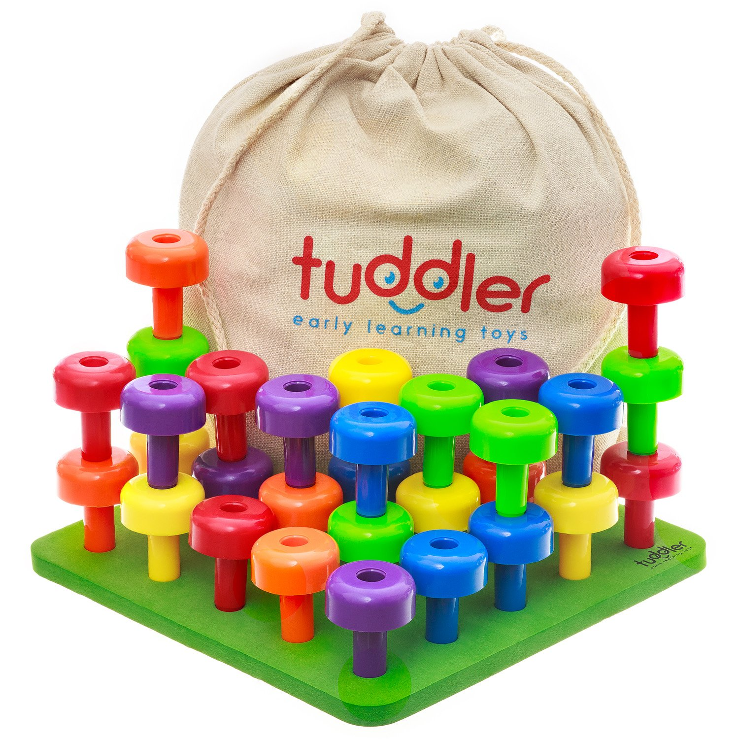 Tuddler Brightly Colored Stackable Pegs and Peg Board Set / Montessori Educational Toy for Toddlers and Kids + Pattern Card + Drawstring Backpack for portability and neat storage