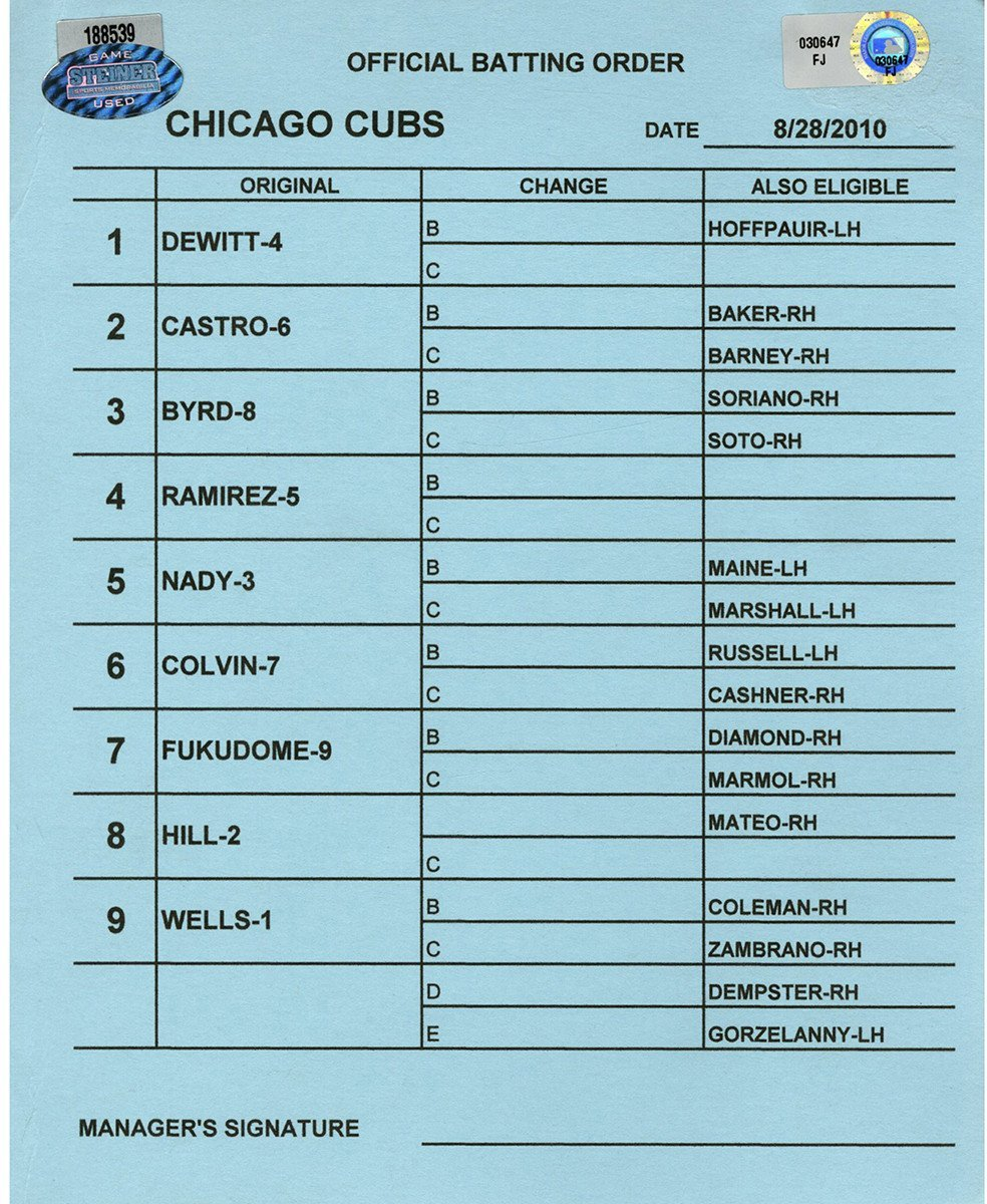 Chcago Cubs at Cincinnati Reds 8 28 2010 Blue Game Used Line up Card (FJ030647)