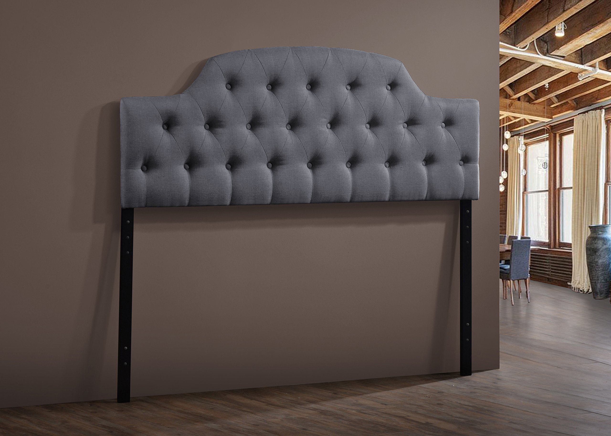 Baxton Studio Wholesale Interiors Morris Modern and Contemporary Fabric Upholstered Button-Tufted Scalloped Headboard, Full, Grey by Baxton Studio