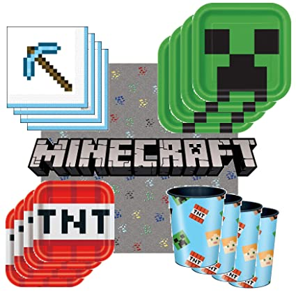 Amazon.com: Minecraft – Pack de vajilla para 8 invitados ...