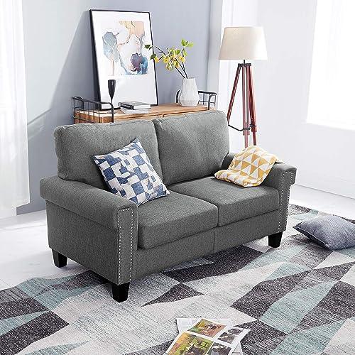 Festival Depot 1 Piece Indoor Modern Fabric Furniture Accent Arm Sofa Loveseat