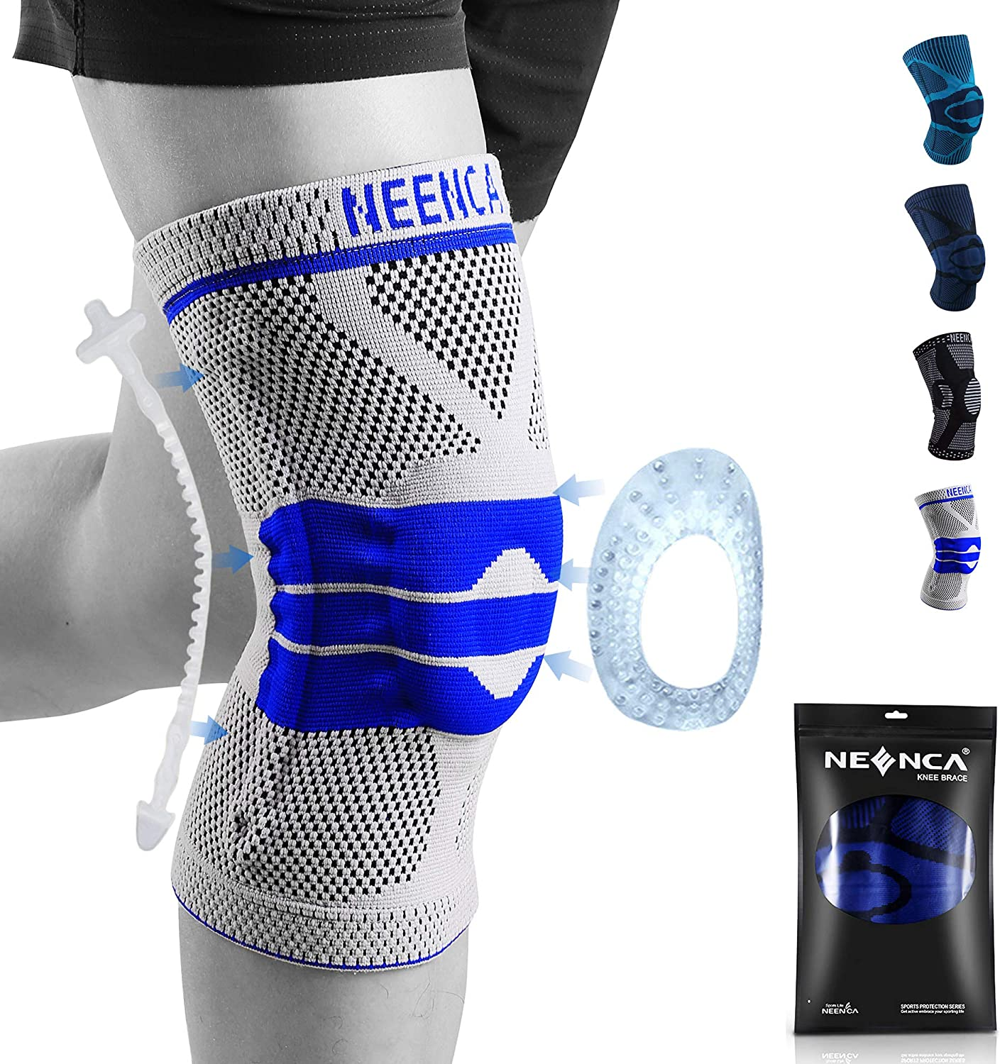 NEENCA Knee Brace,Knee Compression Sleeve Support with Patella Gel Pad & Side Spring Stabilizers,Medical Grade Knee Protector for Running,Meniscus Tear,Arthritis,Joint Pain Relief,ACL,Injury Recovery: Sports & Outdoors