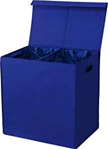 Simplehouseware Double Laundry Hamper with Lid and Removable Laundry Bags, Dark Blue