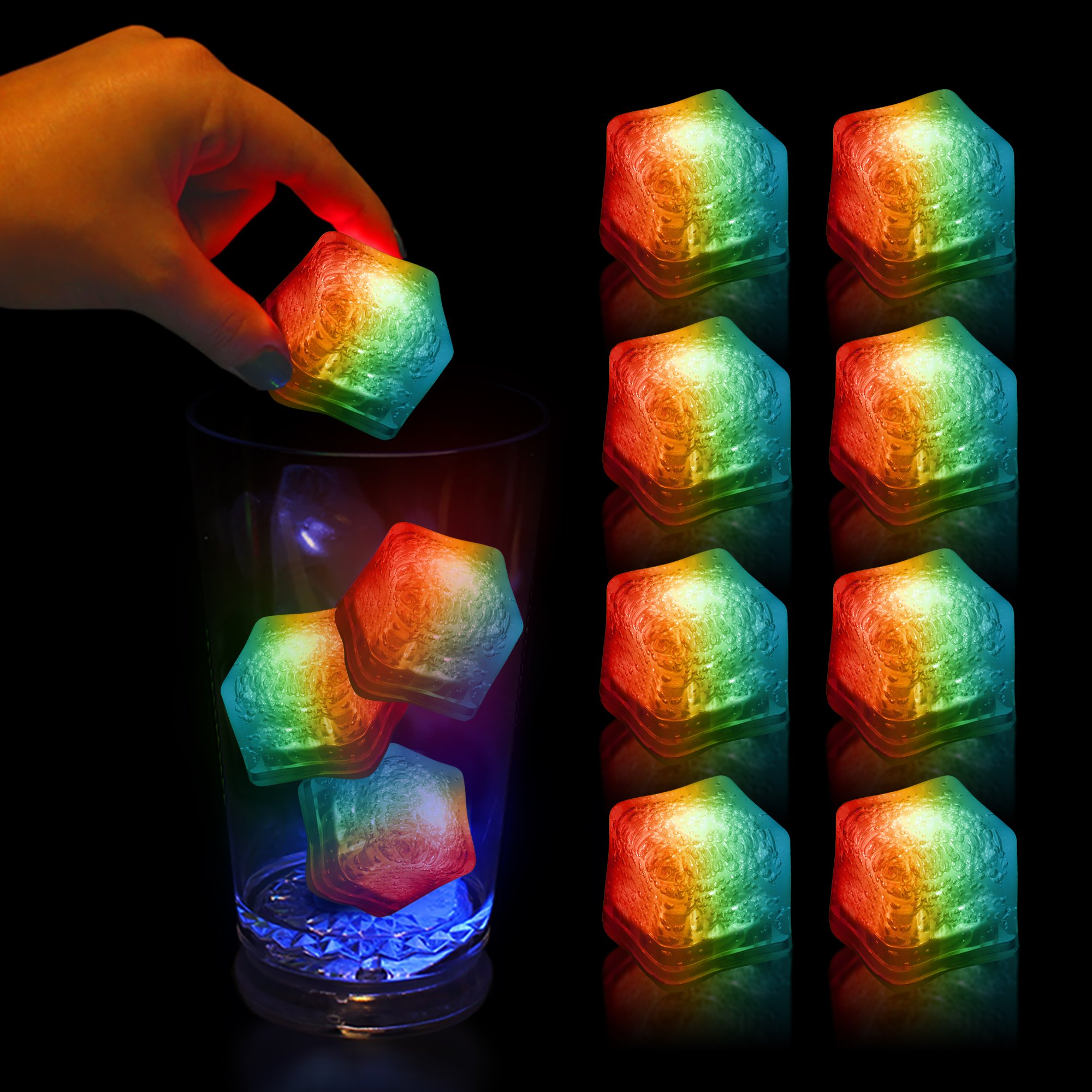 (12 Pack) Multi Color Light-Up LED Ice Cubes with Changing Lights and On/Off Switch