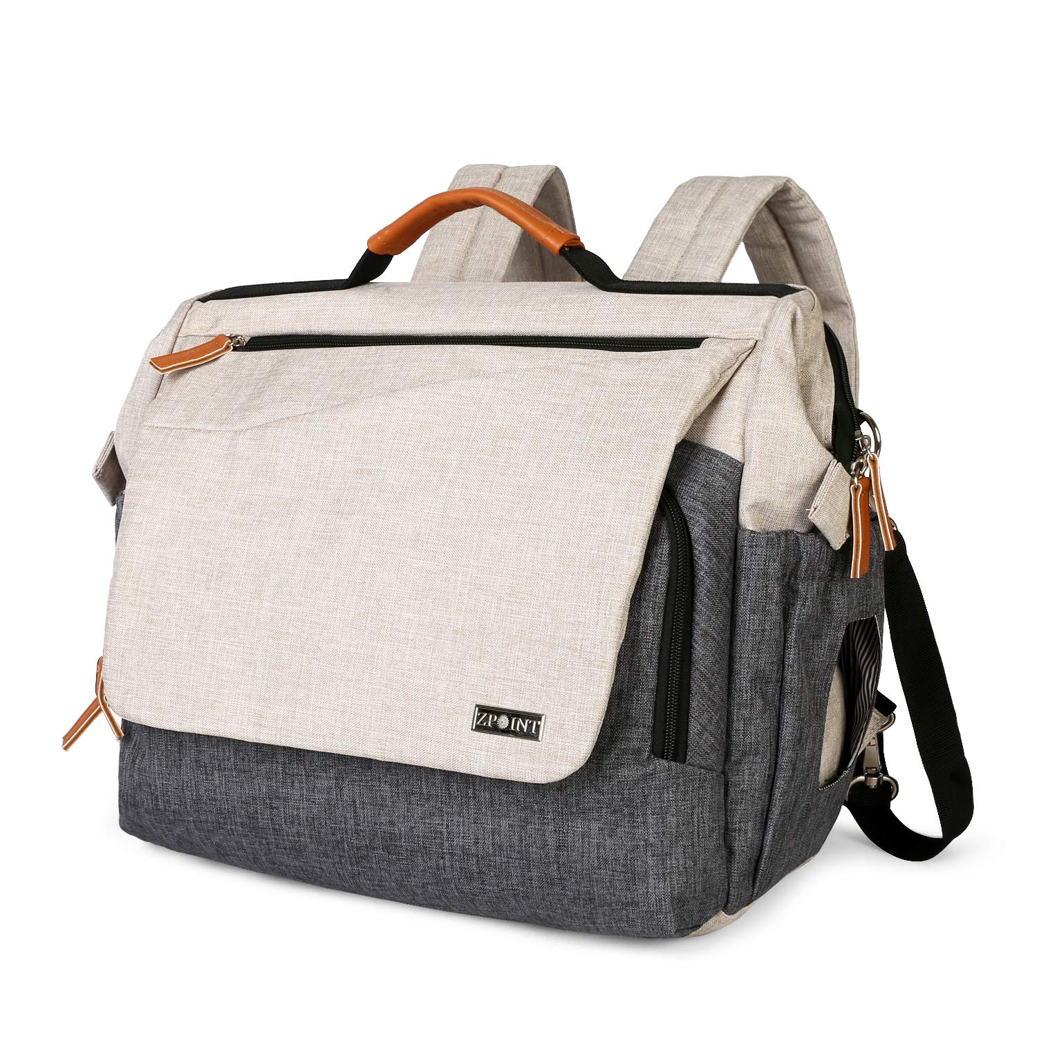 """Zpoint D3 Large Diaper Bag, Mom & Dad Backpack, Multi-function Travel Baby Nappy Changing, Water Resistant Maternity Messenger with Stroller Belts, 16""""x13""""x7"""", Beige/Grey"""