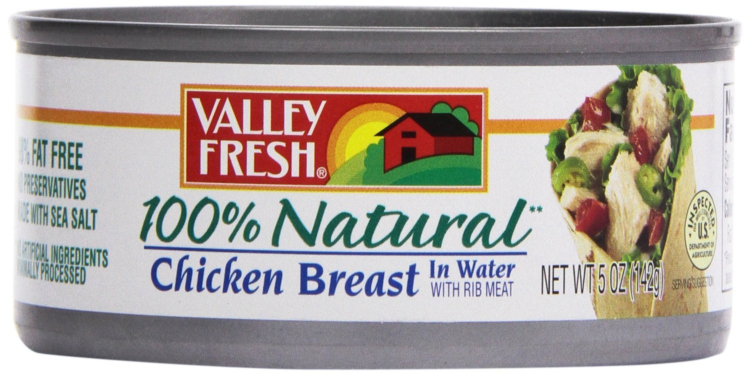 Valley Fresh 100% Natural White Chicken in Water 5 Oz Pack of 4