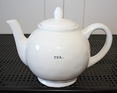 Amazon Com Rae Dunn Tea In Typeset Letters Teapot With Lid And