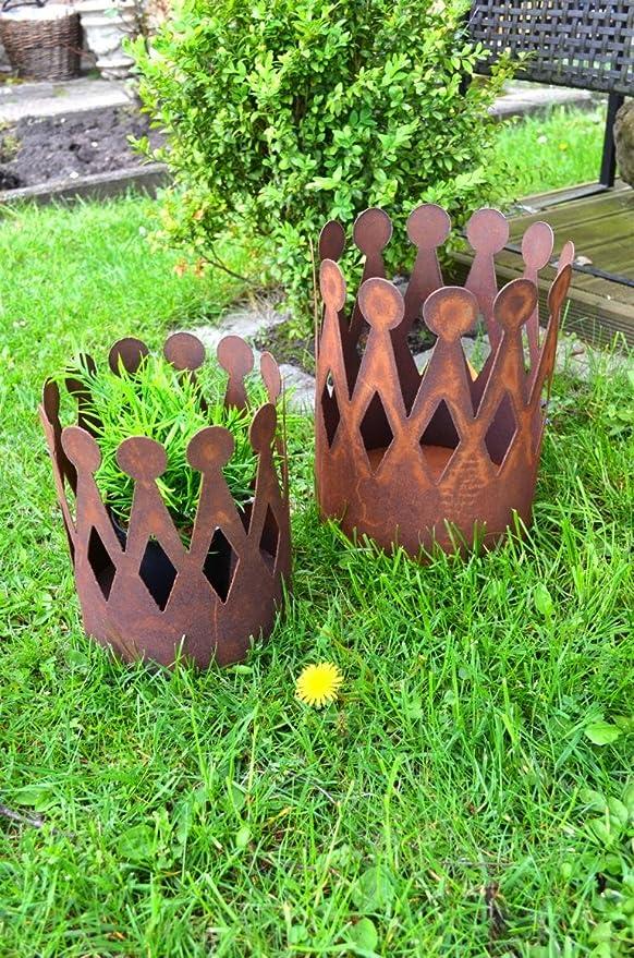 Corona óXido – Maceta oxidado Maceta decorativa de metal Flor portavelas Candelabro Macetero Jardín aprox. 25 cm altura: Amazon.es: Jardín