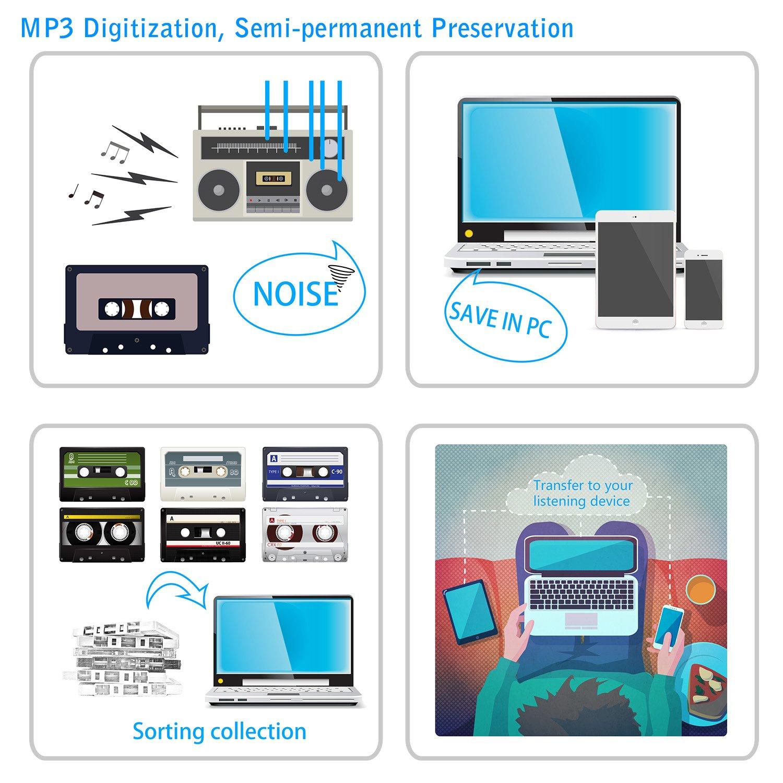 Lecteur Cassette Portable pour Capturer la Musique Audio MP3 Via USB Compatible avec Les Ordinateurs Portables et Les PC Convertir Cassettes de Bande Walkman au Format Reshow Lecteur Cassette