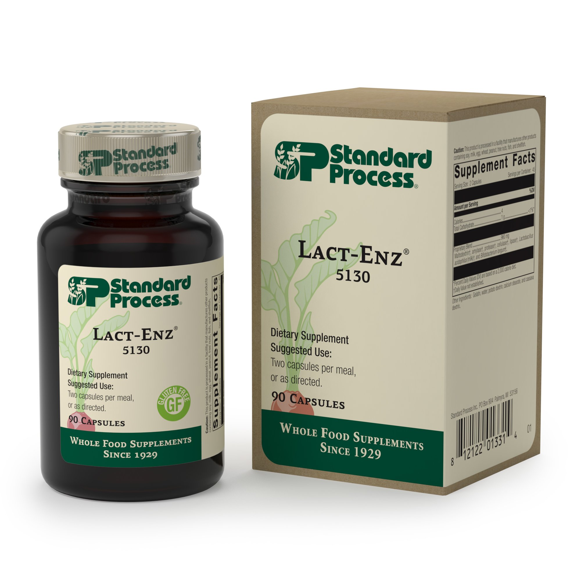 Standard Process - Lact-ENZ - Digestive Enzyme and Probiotic Supplement, Supports Digestion and Immune System Function, Gluten Free - 90 Capsules