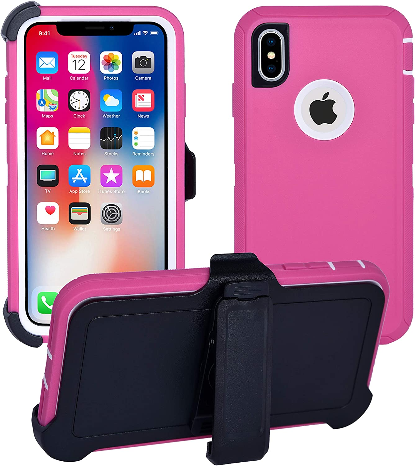 AlphaCell Cover Compatible with iPhone Xs/iPhone X | Holster Case Series | Military Grade Protection with Carrying Belt Clip | Protective Drop-Proof Shock-Proof | Pink/White