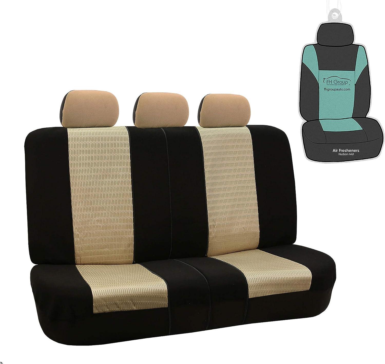 FH Group FB060012 Trendy Elegance 3D Air Mesh Split Bench Car Seat Cover (Split Ready) w. Gift, Beige/Black- Universal fit for Cars, auto, Trucks, SUV