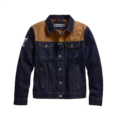 Harley-Davidson Mens Waxed Canvas Slim Fit Denim Jacket ...