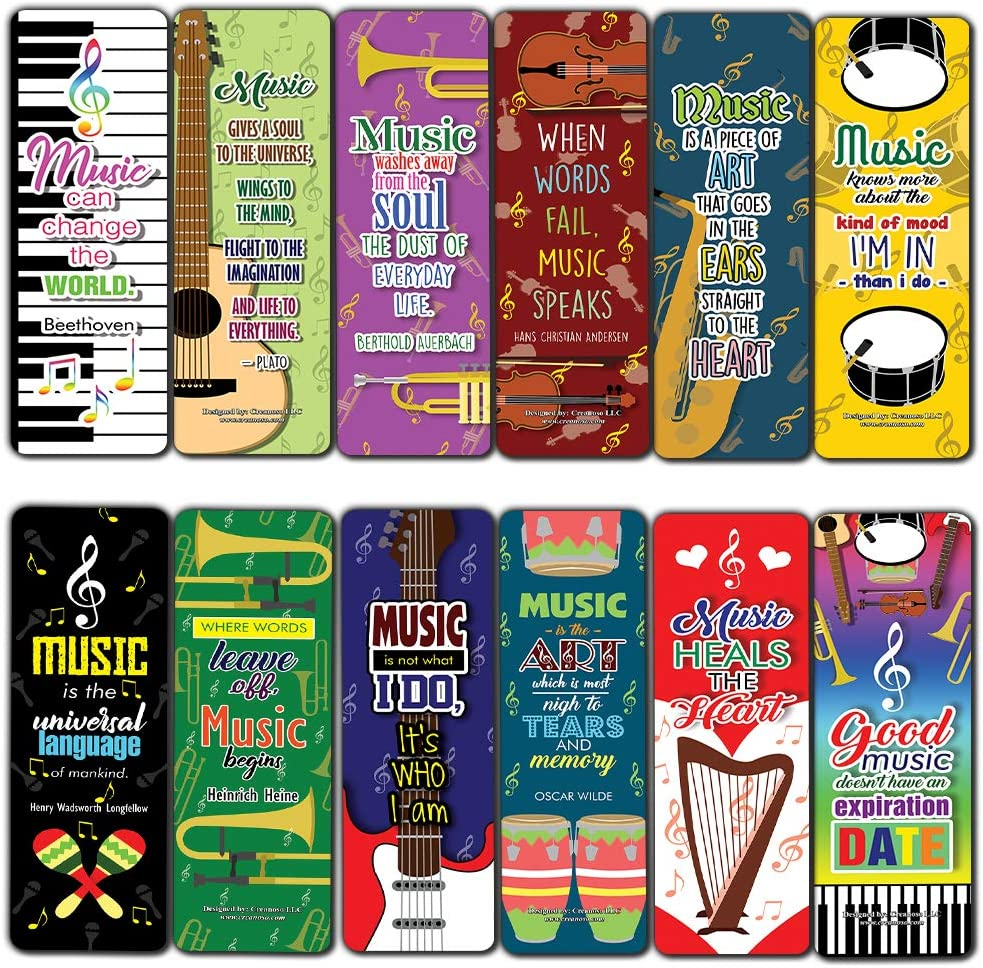 Amazon Com Creanoso Musical Quotes Bookmark 30 Pack Cool Music Inspiring Inspirational Sayings For Musicians Music Giveaways Collection Bulk Set Men Women Teens Employees Book Reading Rewards Gifts Office Products