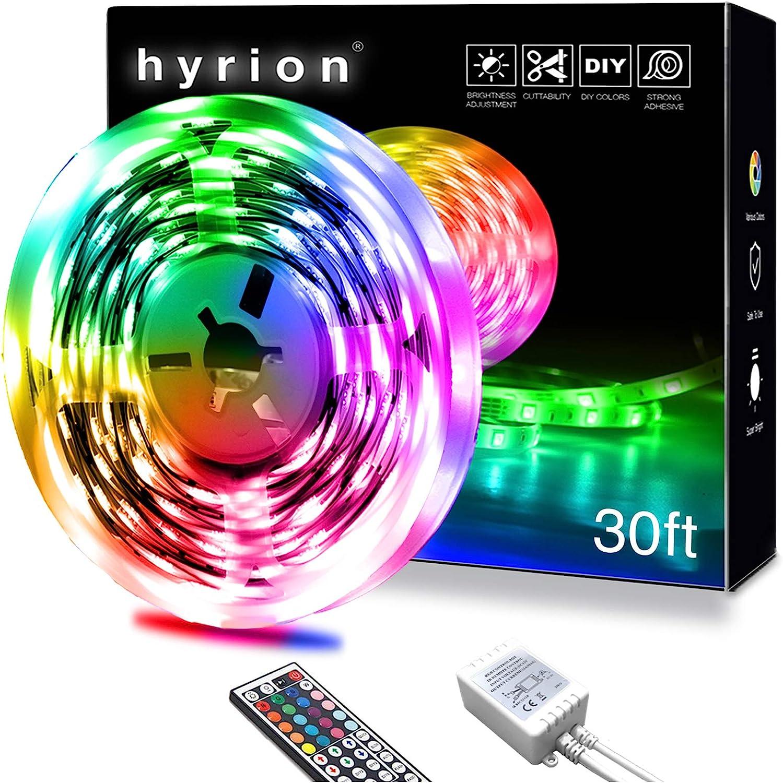 Color Changing Led Strip for Home Decoration Kitchen hyrion LED Lights for Bedroom with 44 Keys Remote for Bedroom 25ft LED Strip Lights Tv Desk