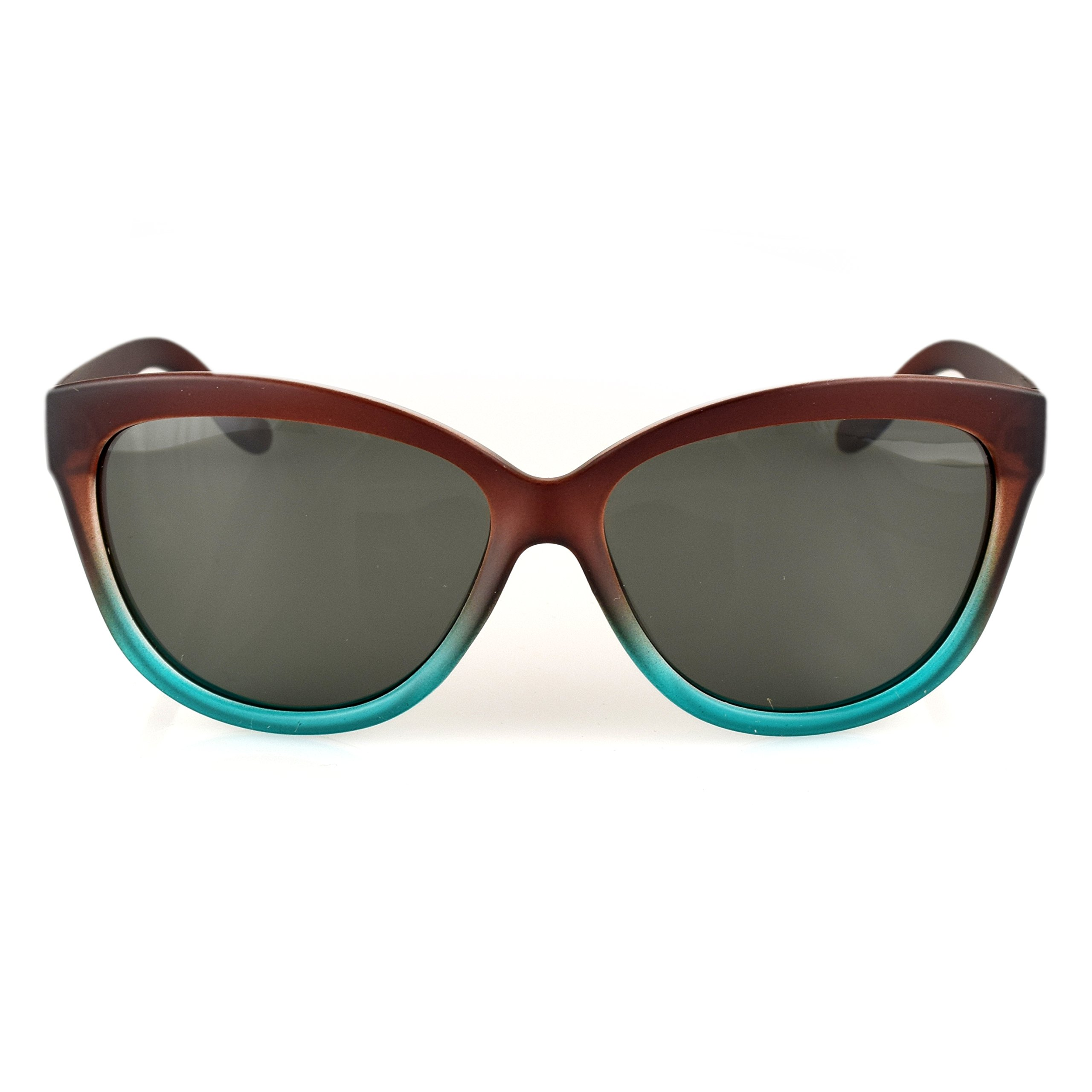 13Fifty Miami Women's Sunglasses, Cat Eye Glasses Brown & Green Fashion Frame, Green Gray Polarized Lenses by 13Fifty (Image #3)