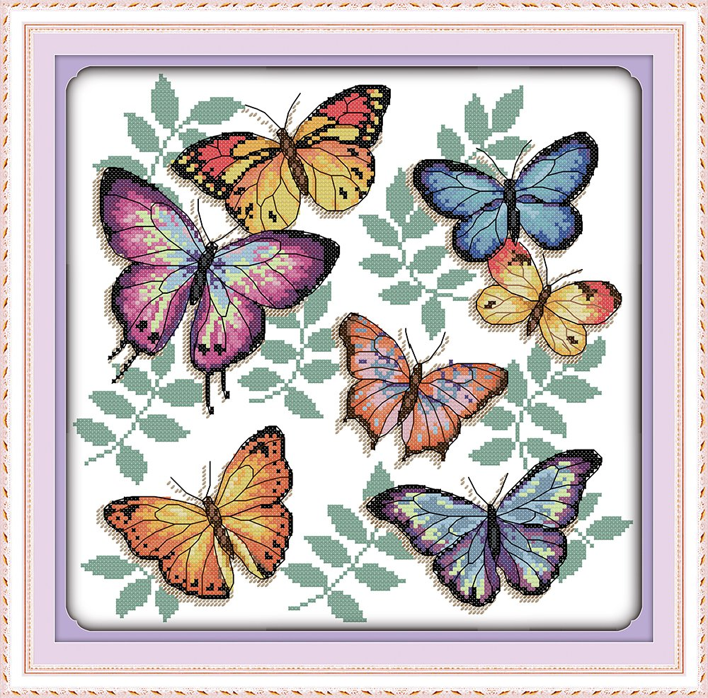 Cross Stitch Embroidery Starter Kit including 11ct classic reserve Aida colored threads and tools The colorful butterflies No Frame