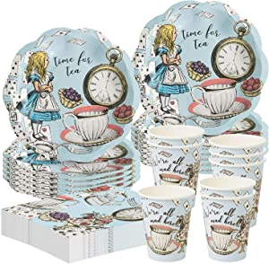 Talking Tables Time for Tea Alice in Wonderland Dinnerware Party Bundle | Plates, Napkins, Cups | Luncheons, Birthday Party, Tea Garden, Girls Events