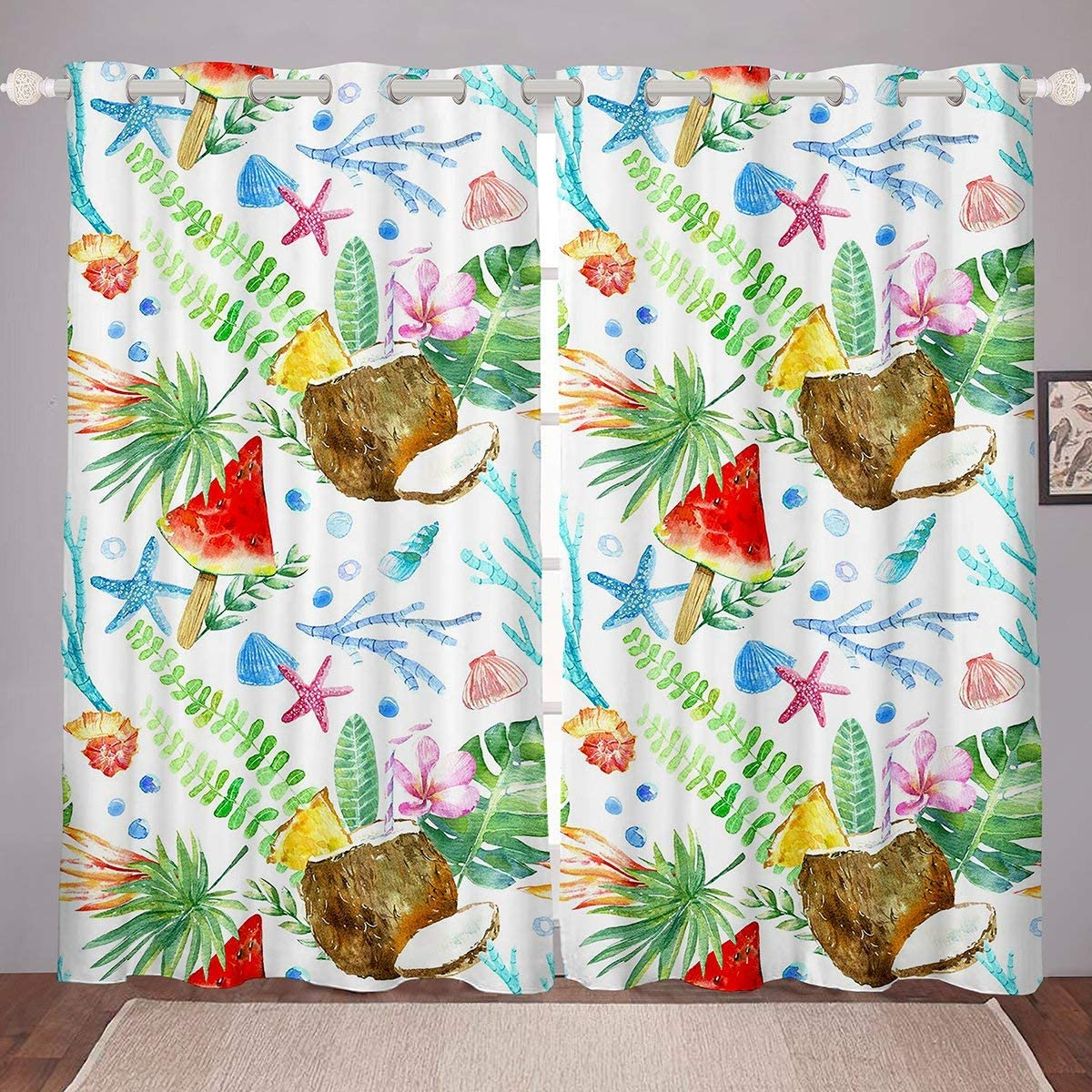 "Erosebridal Palm Leaf Curtains Kids Girls Starfish Ocean Life Window Curtain Panels, Watermelon Window Drapes for Children Boys Teens Coconut Fruit Colorful Window Treatment Decorative Room 84""X63"""