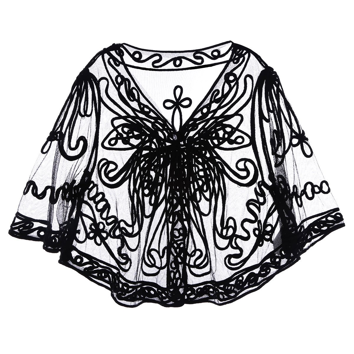Victorian Clothing, Costumes & 1800s Fashion iiniim Womens Casual Lace Crochet Cardigan 3 4 Sleeve Sheer Cover Up Jacket Plus Size $21.95 AT vintagedancer.com