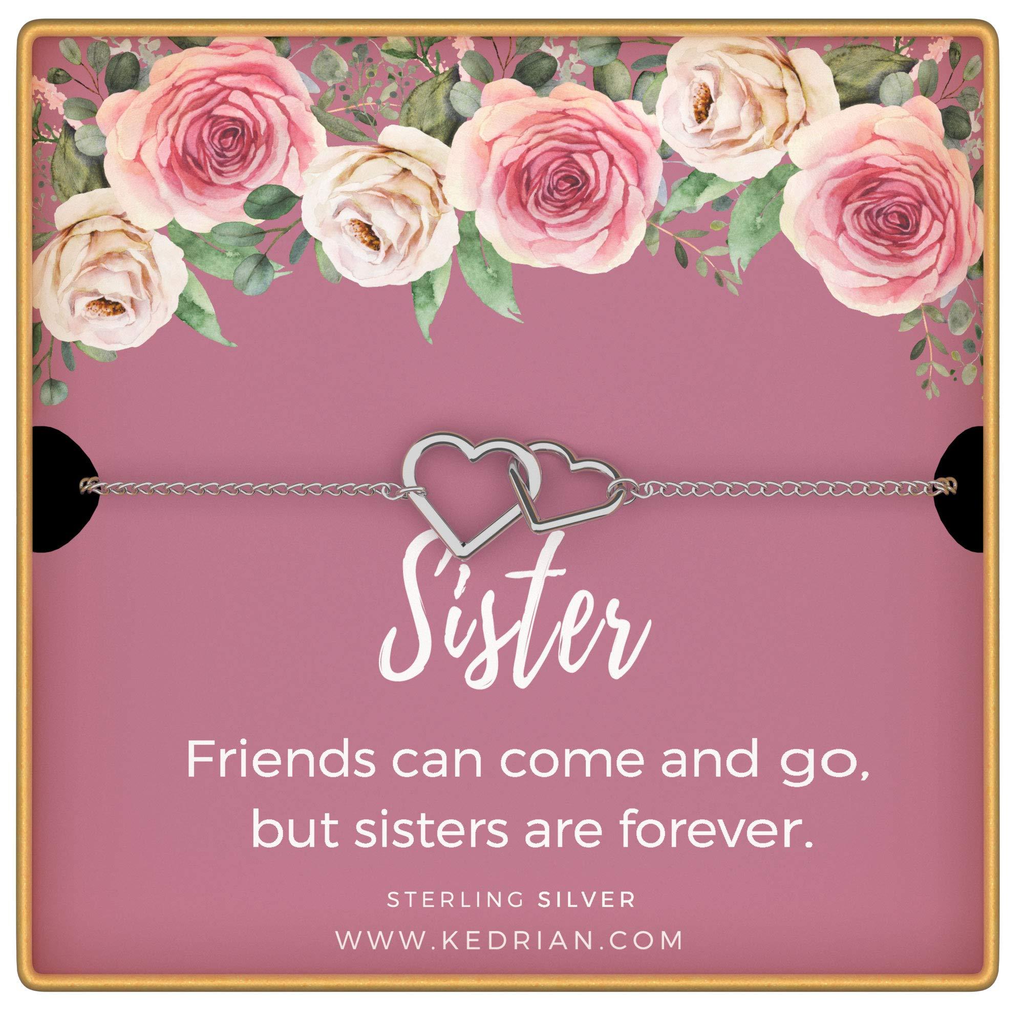 KEDRIAN Sister Bracelet, 925 Sterling Silver Interlocking Hearts Bracelet, Sister Gifts From Sister, Big Sister Gifts, Birthday Gifts for Sisters, Gift For Sister, Sister Birthday Gift, Sister Jewelry