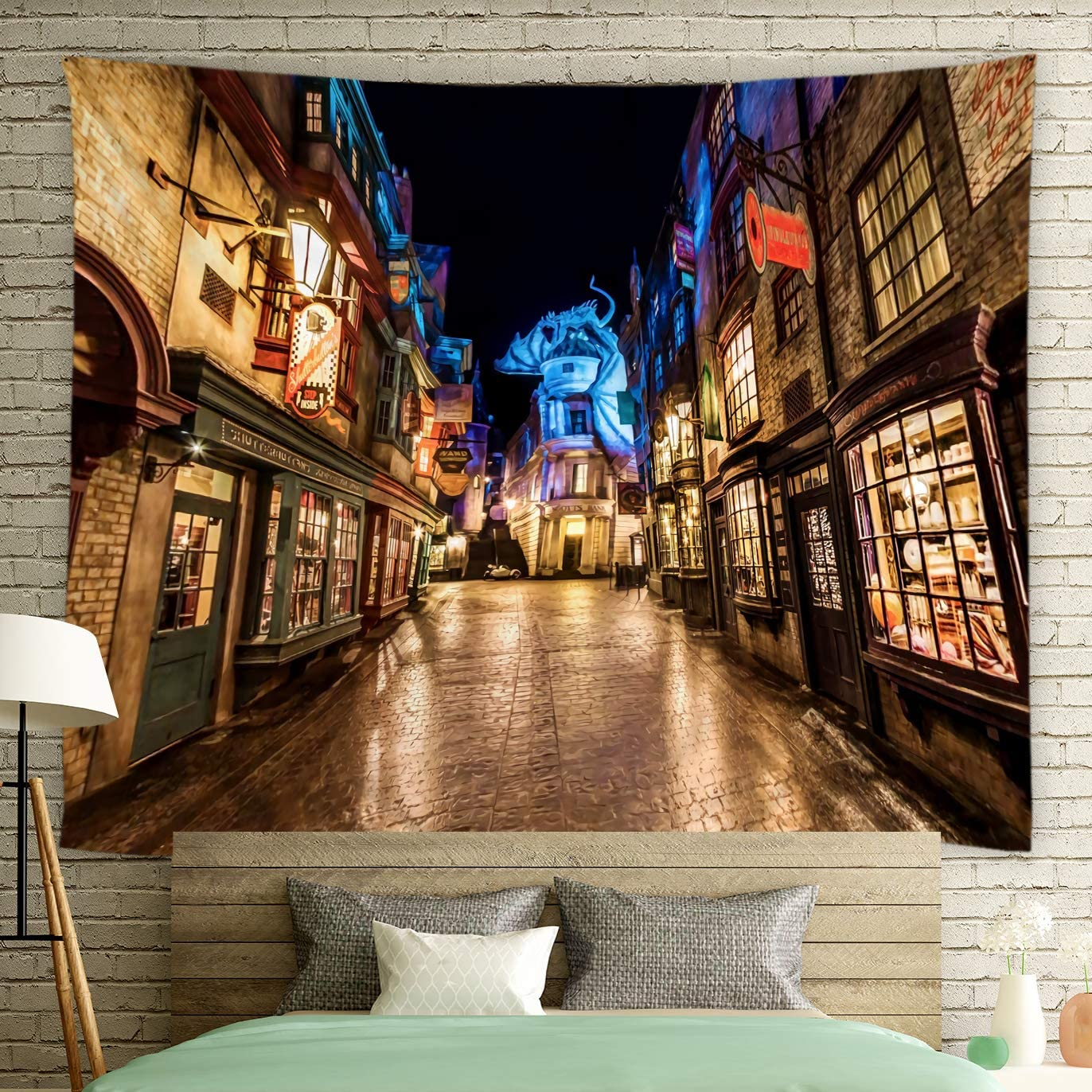Feierman Diagon Alley Tapestry for Magic Night Street Wall Hanging Tapestry Decor 100 Polyester Kids Bedroom Decor